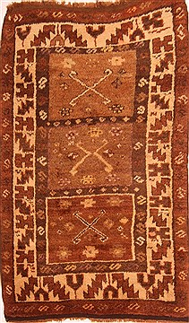 Persian Gabbeh Brown Rectangle 3x5 ft Wool Carpet 24560