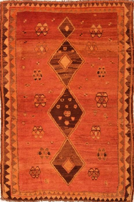 Persian Gabbeh Red Rectangle 5x7 Ft Wool Carpet 24565