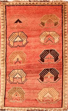"Gabbeh Red Hand Knotted 4'2"" X 6'8""  Area Rug 100-24595"