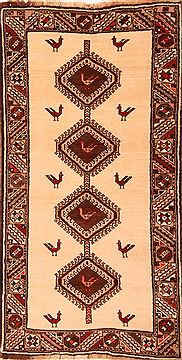 Persian Gabbeh Beige Runner 6 to 9 ft Wool Carpet 24625