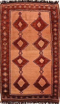 "Gabbeh Red Hand Knotted 4'5"" X 7'3""  Area Rug 100-24655"