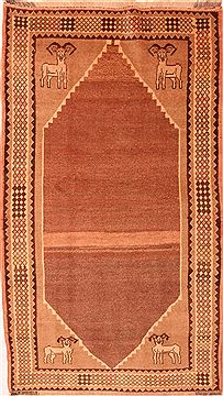 "Gabbeh Beige Hand Knotted 4'2"" X 7'5""  Area Rug 100-24659"