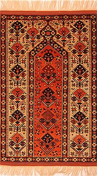 Romania Shiraz Orange Rectangle 3x5 ft Wool Carpet 24676