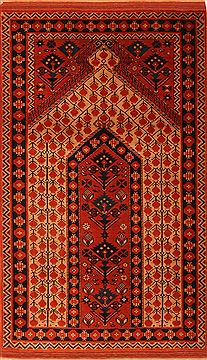 Romania Shiraz Orange Rectangle 4x6 ft Wool Carpet 24680