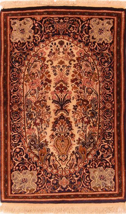 Egypt Kashan Multicolor Rectangle 3x4 Ft Wool Carpet 24698