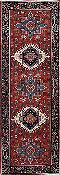 Indian Karajeh Red Runner 6 ft and Smaller Wool Carpet 24723
