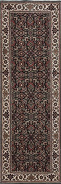 Indian Herati Black Runner 6 ft and Smaller Wool Carpet 24747
