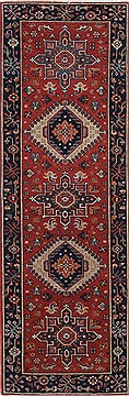 Indian Karajeh Red Runner 6 ft and Smaller Wool Carpet 24771