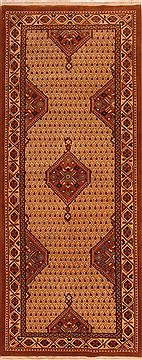 "Tabriz Brown Runner Hand Knotted 4'2"" X 10'4""  Area Rug 100-24773"