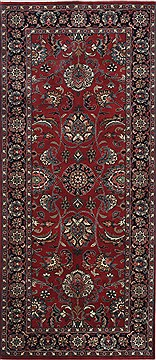 Indian Kashan Red Runner 6 ft and Smaller Wool Carpet 24802