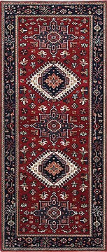Indian Karajeh Red Runner 6 ft and Smaller Wool Carpet 24805