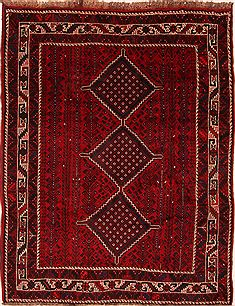"Qashqai Red Square Hand Knotted 6'7"" X 8'5""  Area Rug 100-24818"