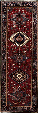 Indian Karajeh Red Runner 6 ft and Smaller Wool Carpet 24832