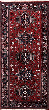 Indian Karajeh Red Runner 6 ft and Smaller Wool Carpet 24843