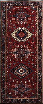 Indian Karajeh Red Runner 6 ft and Smaller Wool Carpet 24908