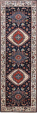 Indian Karajeh Beige Runner 6 ft and Smaller Wool Carpet 25014