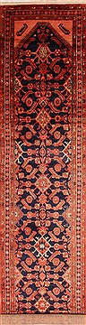 "Sanandaj Red Runner Hand Knotted 3'7"" X 16'10""  Area Rug 100-25065"