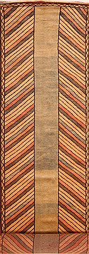 "Gabbeh Brown Runner Hand Knotted 3'9"" X 16'1""  Area Rug 100-25086"