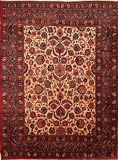 Persian Mashad Beige Rectangle 10x14 ft Wool Carpet 25145