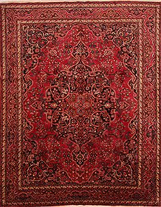 Persian Mashad Red Rectangle 10x13 ft Wool Carpet 25162