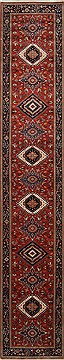 "Karajeh Blue Runner Hand Knotted 2'7"" X 14'2""  Area Rug 250-25163"