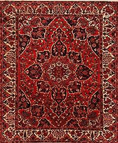 "Bakhtiar Red Hand Knotted 10'1"" X 12'4""  Area Rug 100-25183"