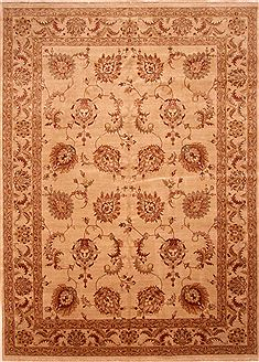 "Kashan Beige Hand Knotted 10'1"" X 13'11""  Area Rug 100-25329"