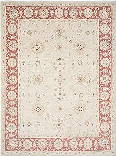 Pakistani Chobi Beige Rectangle 9x12 ft Wool Carpet 25331