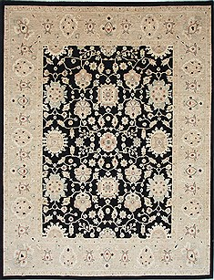 Pakistani Chobi Beige Rectangle 9x12 ft Wool Carpet 25333