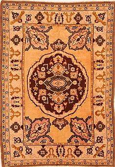 Armenian Tabriz Beige Rectangle 6x9 ft Wool Carpet 25520