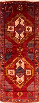 "Gabbeh Red Runner Hand Knotted 4'3"" X 11'2""  Area Rug 100-25534"