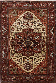 Indian Serapi Beige Rectangle 6x9 ft Wool Carpet 25585