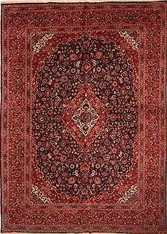 Persian Kashan Red Rectangle 11x16 ft Wool Carpet 25621