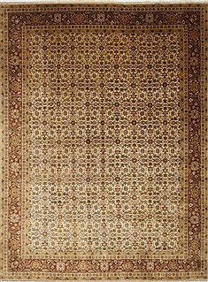 Indian Indo-Persian Beige Rectangle 9x12 ft Wool Carpet 25668