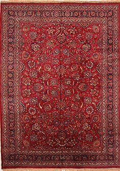 Persian Mashad Red Rectangle 11x16 ft Wool Carpet 25681