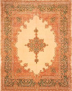 "Kerman Beige Hand Knotted 11'10"" X 15'0""  Area Rug 100-25684"