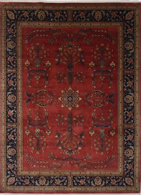 Indian Sarouk Blue Rectangle 9x12 Ft Wool Carpet 25690