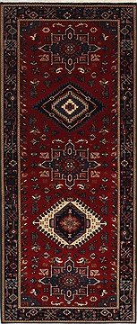 Indian Karajeh Blue Runner 6 ft and Smaller Wool Carpet 25723