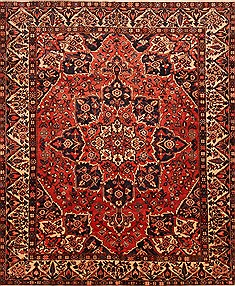 Persian Bakhtiar Red Rectangle 10x12 ft Wool Carpet 25726