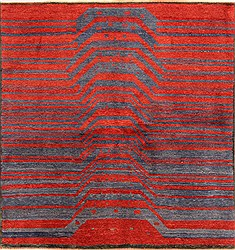 "Gabbeh Red Square Hand Knotted 6'9"" X 7'1""  Area Rug 100-25810"