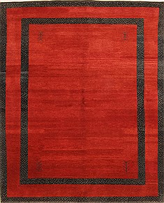 "Indian Gabbeh  Wool Red Area Rug  (6'6"" x 7'10"") - 253 - 25822"