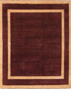 Indian Gabbeh Purple Square 7 to 8 ft Wool Carpet 25823