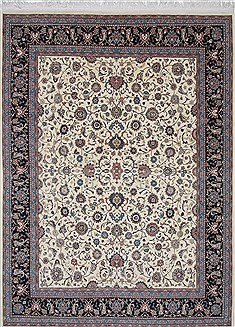 Pakistani Pishavar Beige Rectangle 9x12 ft Wool Carpet 25834