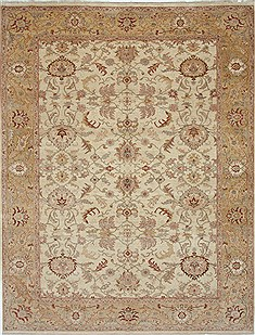 Pakistani Chobi Beige Rectangle 9x12 ft Wool Carpet 26070