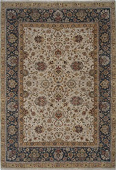 Indian Isfahan Beige Rectangle 9x13 ft Wool Carpet 26177
