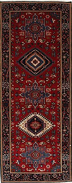 Indian Karajeh Blue Runner 6 ft and Smaller Wool Carpet 26228
