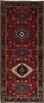 Indian Karajeh Blue Runner 6 ft and Smaller Wool Carpet 26233