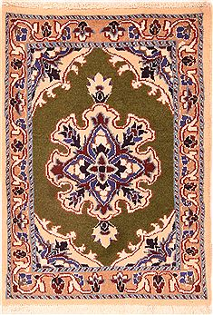 "Nain Green Hand Knotted 1'10"" X 2'8""  Area Rug 100-26238"