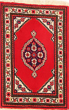 "Tabriz Red Hand Knotted 1'10"" X 2'10""  Area Rug 100-26241"