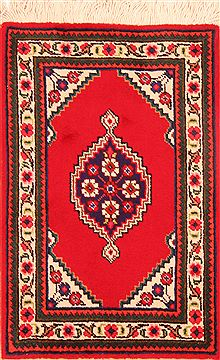 "Tabriz Red Hand Knotted 1'10"" X 2'10""  Area Rug 100-26259"